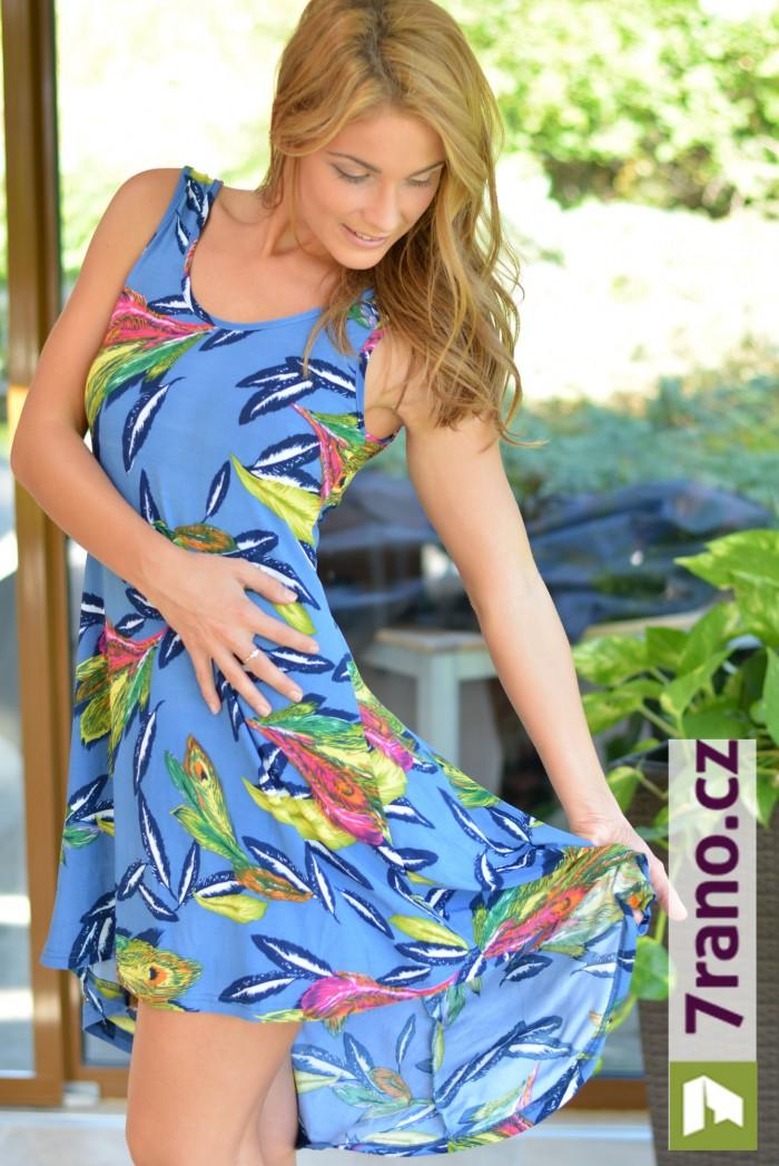 Dámské letní šaty barevné - Pírka modrá 0c78085c8a
