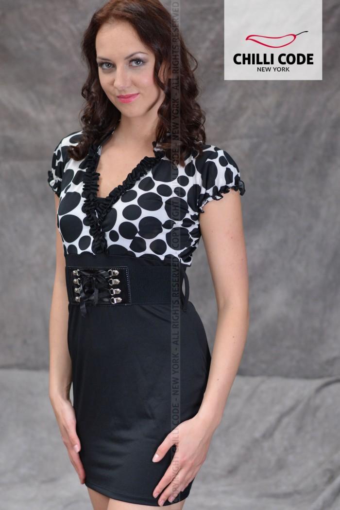 7f2102a95293 Sexy mini šaty s páskem Black White - Černá