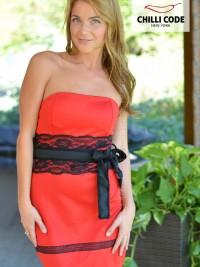 Sexy mini šaty Tube Black Lace - Červená Černá 8c69b071f65