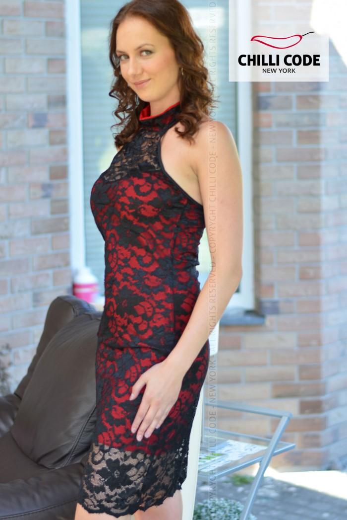 Sexy krajkové šaty s kontrastní podšívkou - Černá Červená 4299fa3cf3