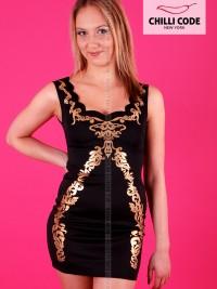 Sexy pouzdrové mini šaty Scallop Neck  - Černá
