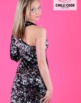 Mini šaty s flitry - Černá