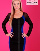 Pouzdrové pružné šaty s dlouhým rukávem  - Černá/Modrá