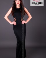 Sexy dlouhé šaty s krajkovou vsadkou - Černá