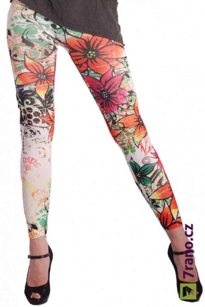 ce0bbac8bae Dámské dlouhé legíny barevné - Flowery
