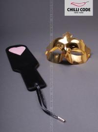 Kožená plácačka Pink Heart - Černá