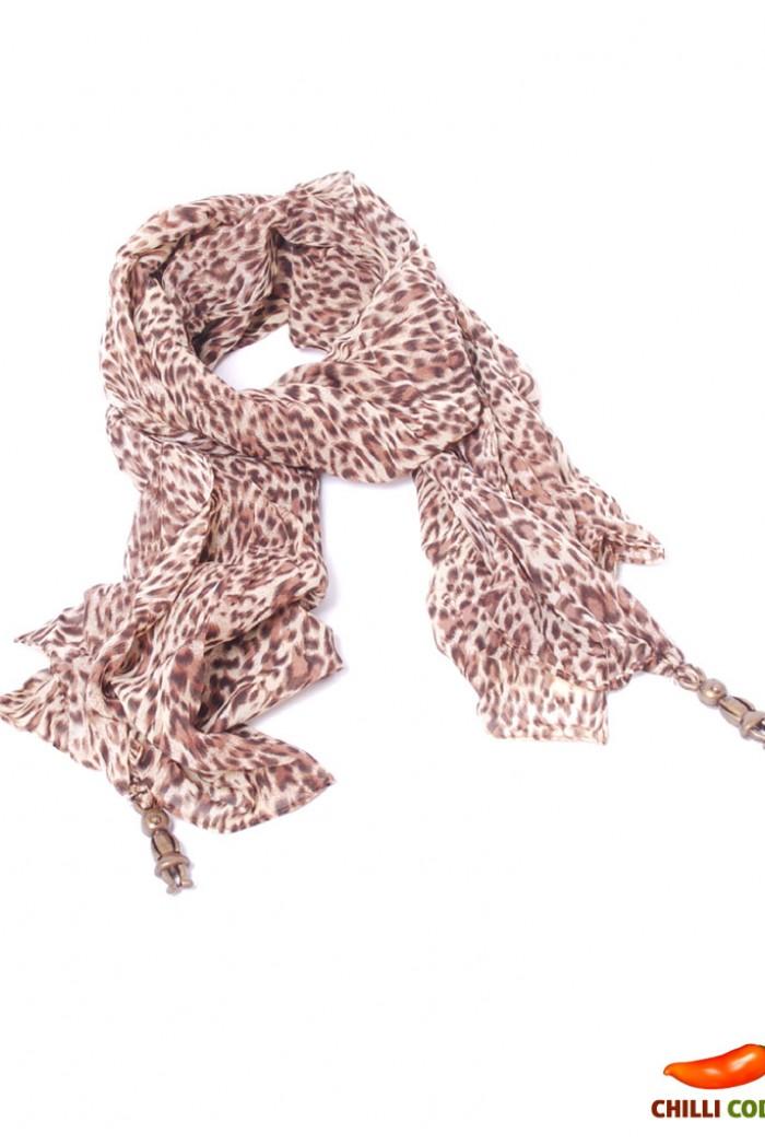 e23a971b398 Maxi šátek s přívěskem Leopard - Hnědá