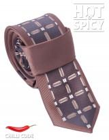 Úzká kravata slim - Hnědá Cross