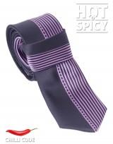 Úzká kravata slim - Černá Purple stripes