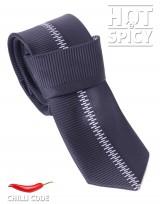Úzká kravata slim - Černá Zig zag