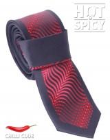 Úzká kravata slim - Černá Red waves