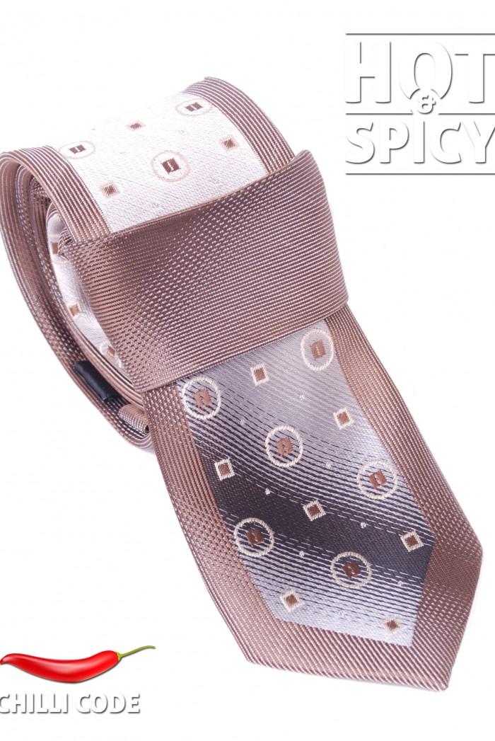 Úzká kravata slim - Hnědá Rings