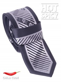 Úzká kravata slim - Černá Silver flowers