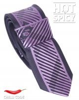 Úzká kravata slim - Černá Purple flowers