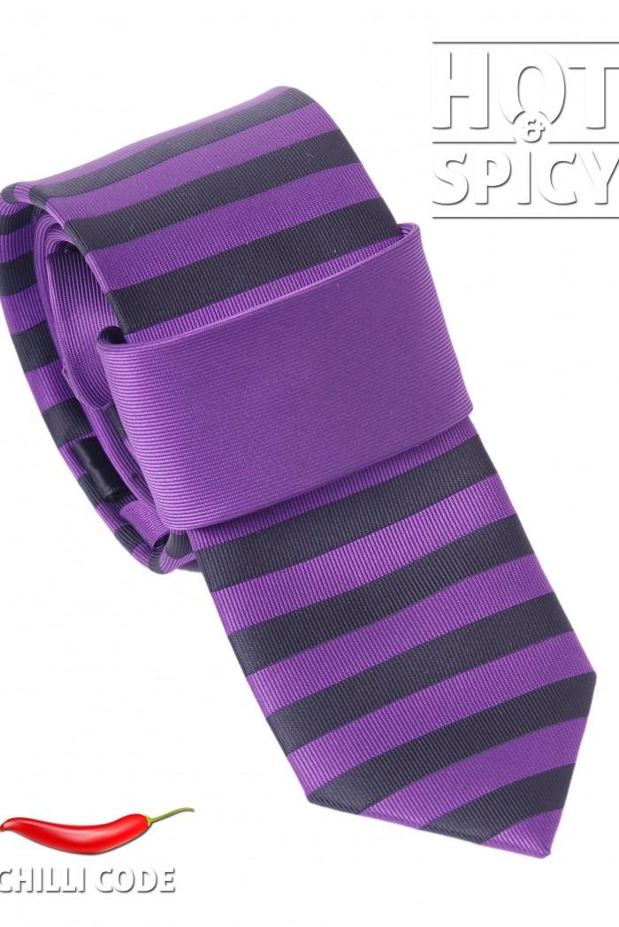Úzká kravata slim - Fialová streaks