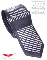 Úzká kravata slim - Černá White Dice