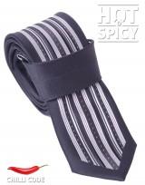 Úzká kravata slim - Černá Striped way