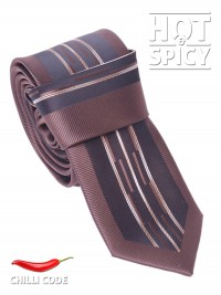 Úzká kravata slim - Hnědá Variety