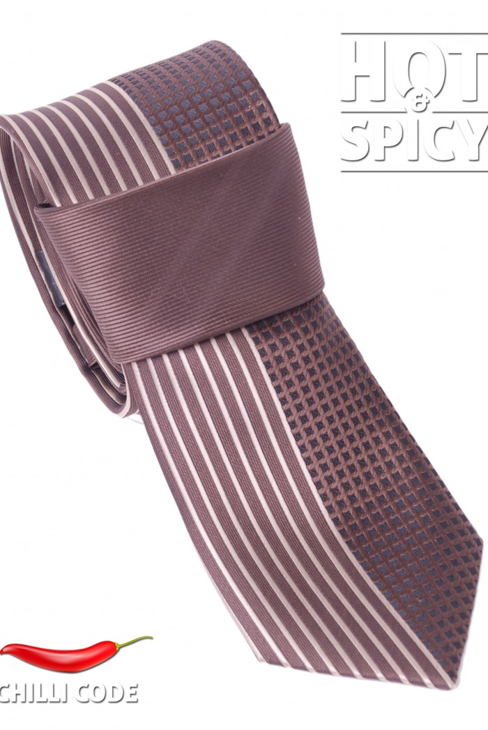 Úzká kravata slim - Hnědá Strips and cubes