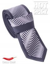 Úzká kravata slim - Černá White waves