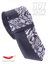 Úzká kravata slim - Černá Silver brick