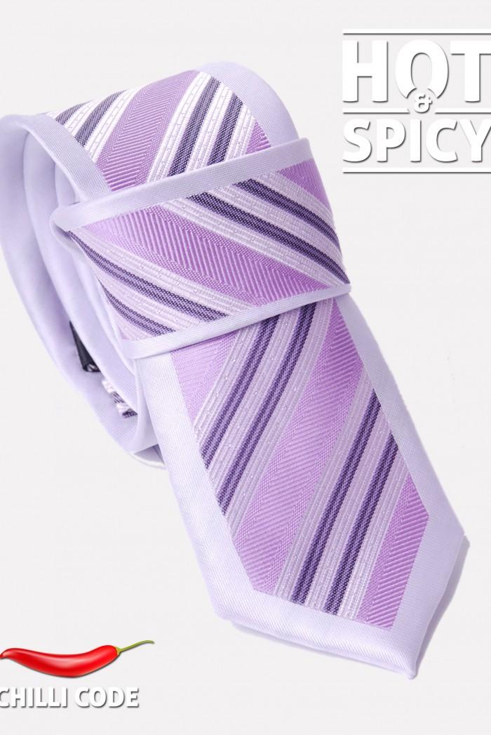 Úzká kravata slim - Světle Fialová Diagonal