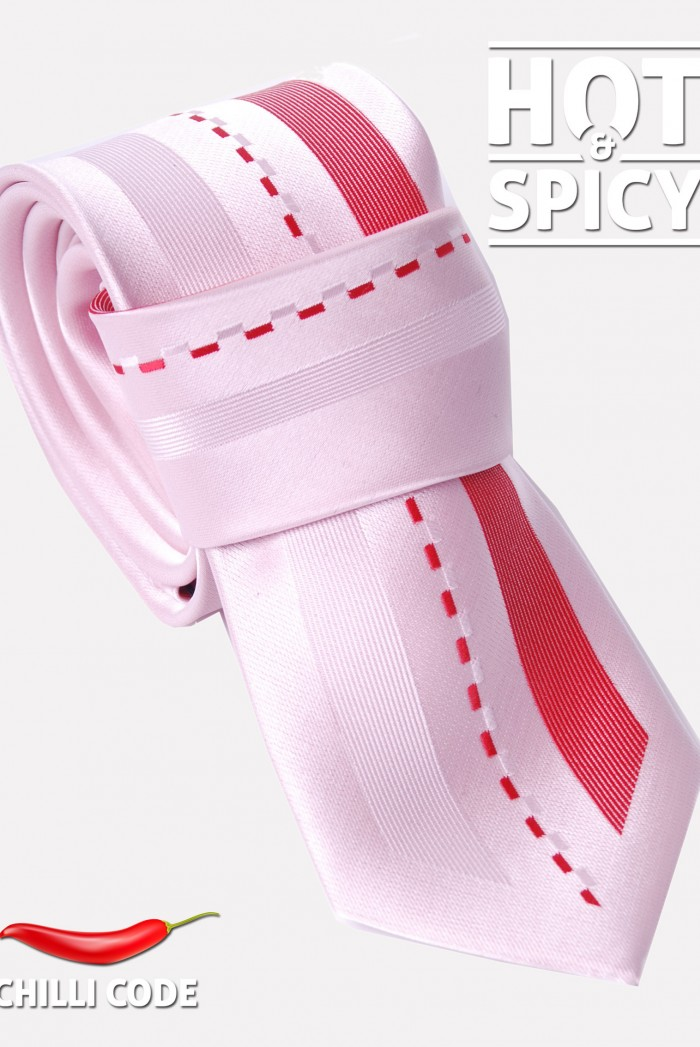 Úzká kravata slim - Růžová Comma