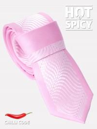 Úzká kravata slim - Růžová Pink waves