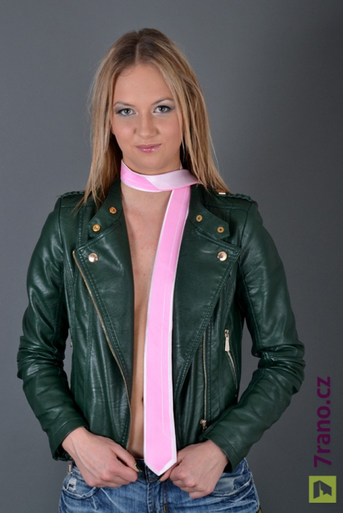 Úzká kravata slim - Růžová Quiet wale