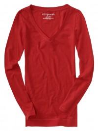 Dámské triko V-Neck - Červená