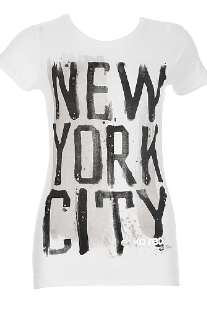 Dámské triko Painted NYC - Bílá