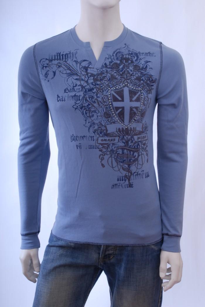 Pánské triko s dlouhým rukávem Rodeo - Modrá