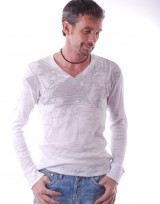 Pánské triko s dlouhým rukávem Todrick - Bílá