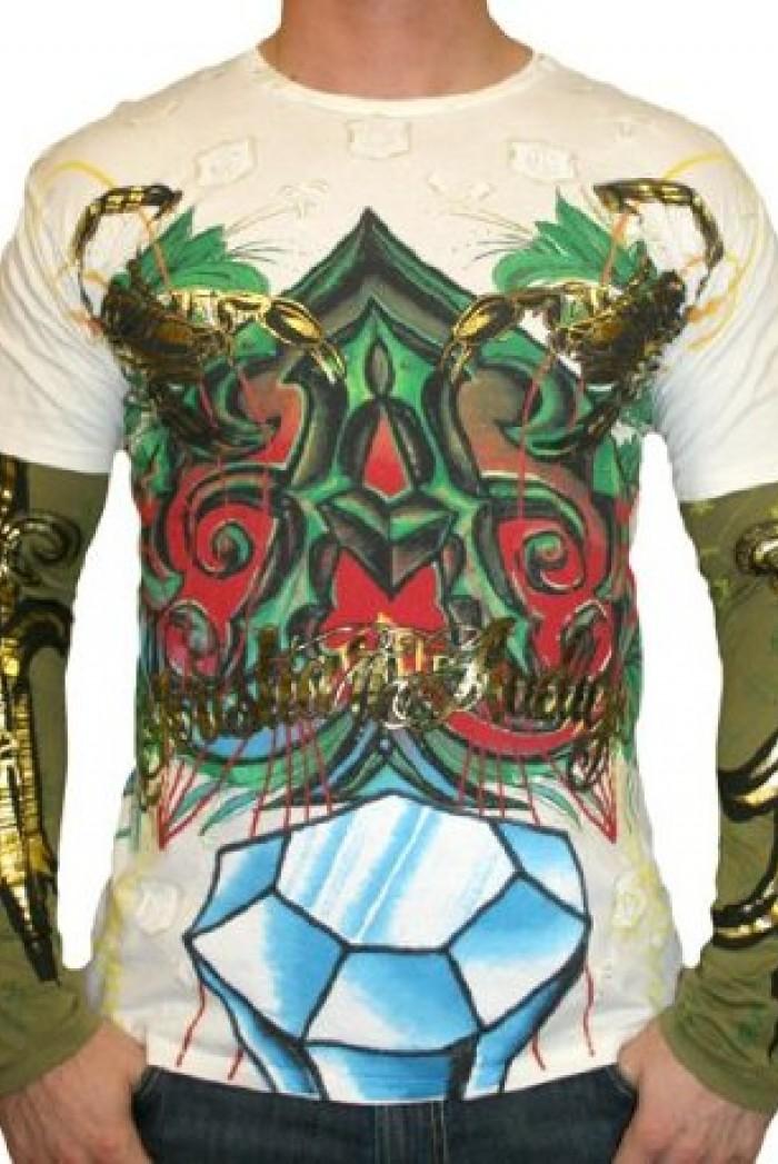Pánské triko CHRISTIAN AUDIGIER Ed Hardy Mens Skull Scorpion Platinum - Béžová