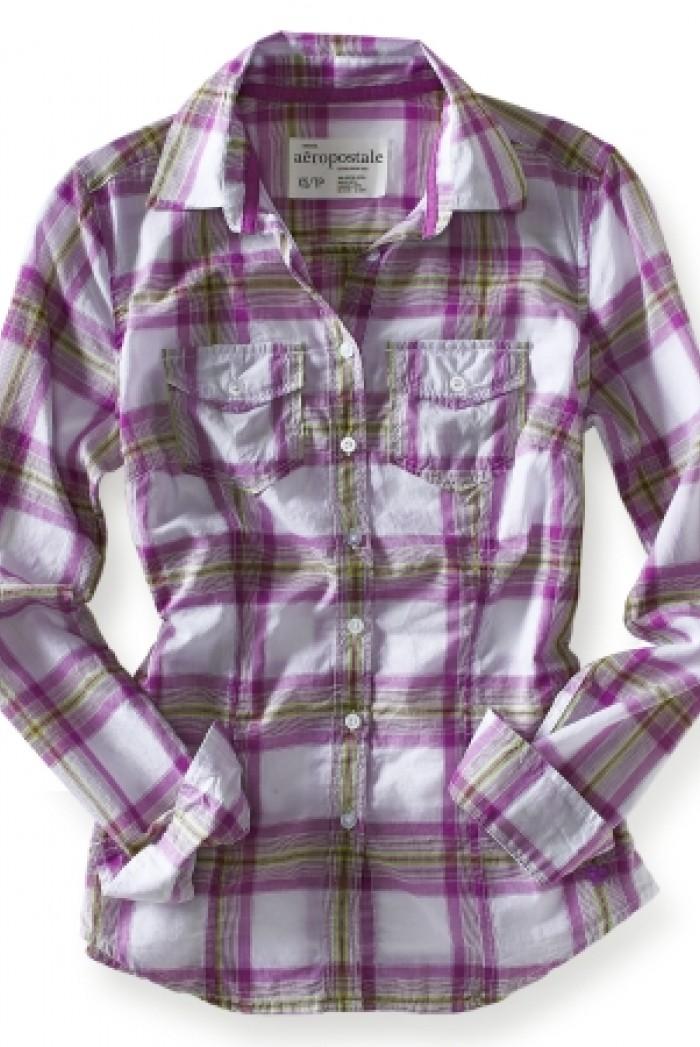 Dámská košile Long Sleeve Plaid - Bílá/Kostka fialovo-olivová