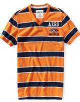 Pánské tričko Aero Waverider - Pruhy Oranžová/Tmavě modrá