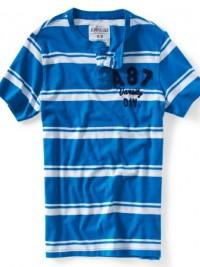 Pánské triko Aéropostale Graphic Henley - Pruhy Bílá/Modrá
