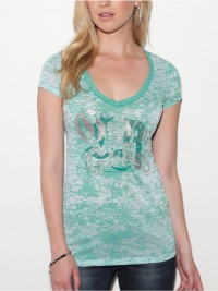 Dámské triko G by Guess Bernadette - Zelená/bílá