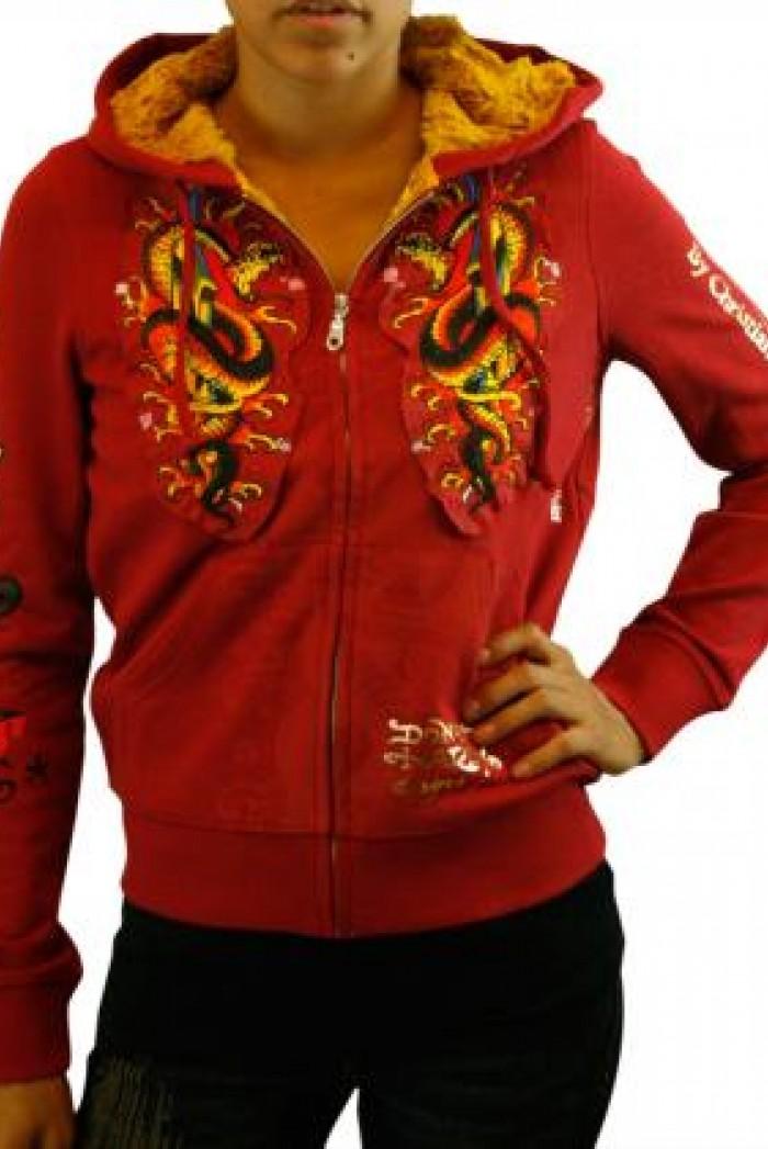 Dámská mikina Platinum Hoodie s kožešinou - Červená