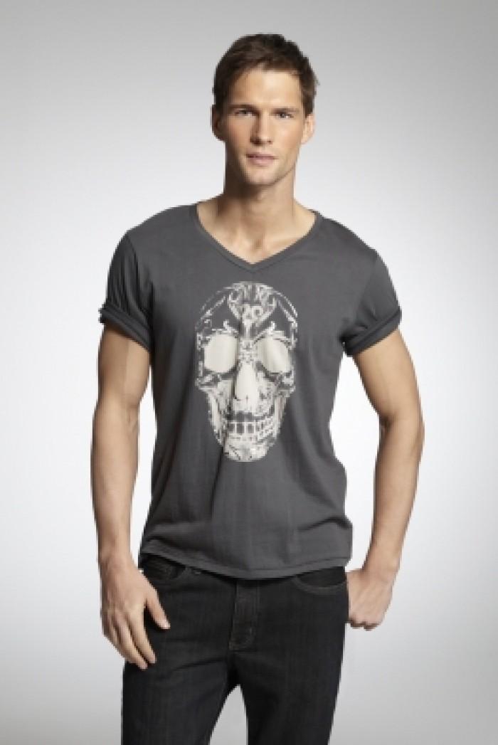 Pánské triko Graphic Skull Tee - Tmavě šedá
